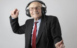 old man with headphones